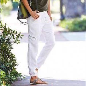 Athleta Linen Tapered Jogger Pants White 8